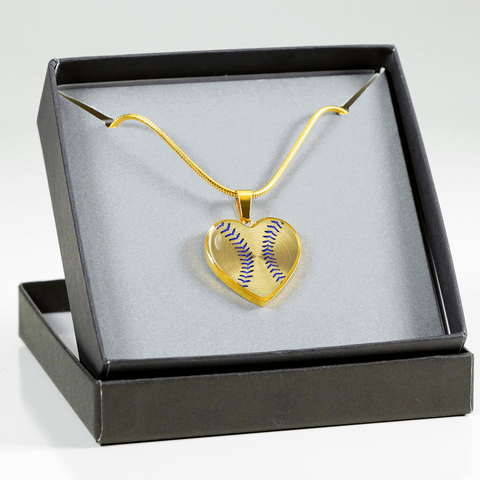 OLD OLD Gold Baseball Blue Stitching Heart Pendant (Limited Edition)