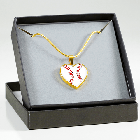 Gold Baseball Heart Pendant