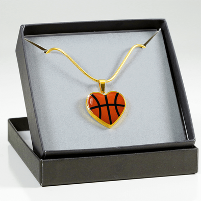 Gold Basketball Heart Pendant