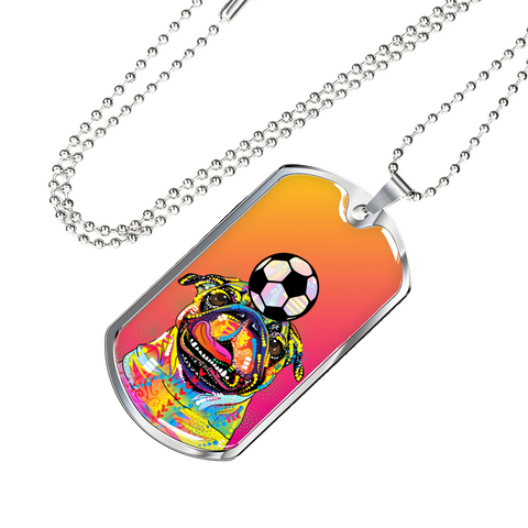 Colorful Pug Soccer Dog Tag