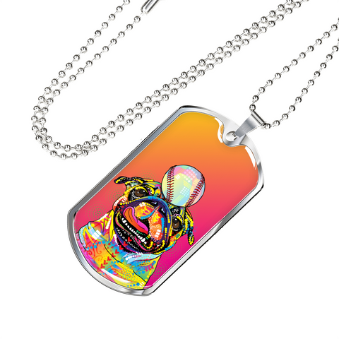 Colorful Pug Baseball Dog Tag