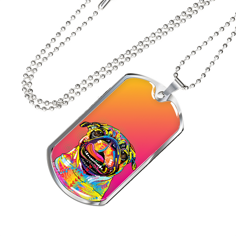 Colorful Pug Dog Tag