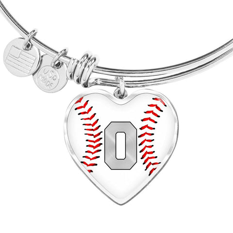 Baseball #0 (Original) Exclusive Heart Pendant Bangle