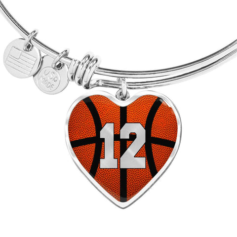 Basketball #12 (Original) Exclusive Heart Pendant Bangle