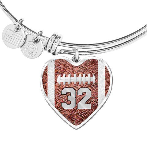 Football #32 (Original) Exclusive Heart Pendant Bangle