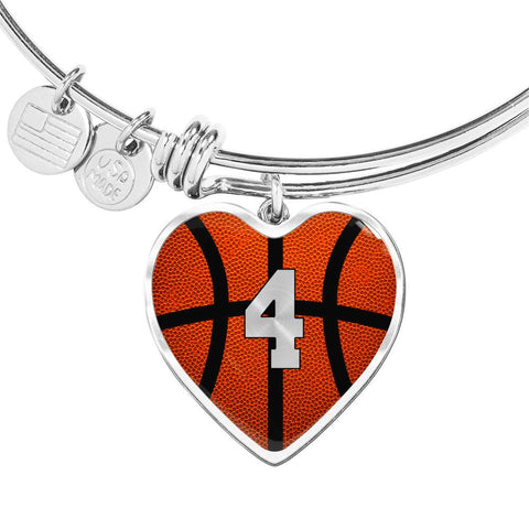 Basketball #4 (Original) Exclusive Heart Pendant Bangle
