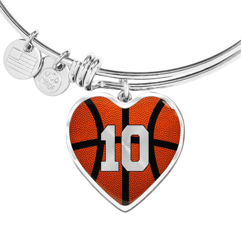 Basketball #10 (Original) Exclusive Heart Pendant Bangle