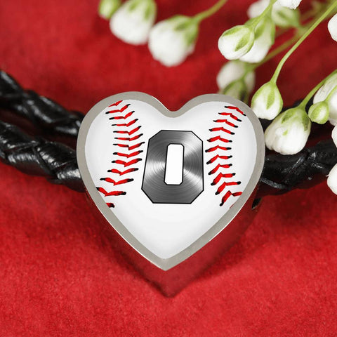 Baseball #0 Original Heart Pendant Woven Leather Bracelet