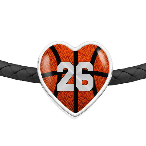 Basketball #26 (Original) Exclusive Heart Pendant Woven Leather Bracelet