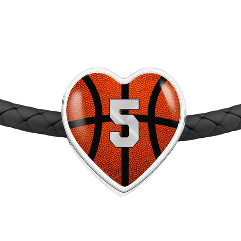 Basketball #5 (Original) Exclusive Heart Pendant Woven Leather Bracelet