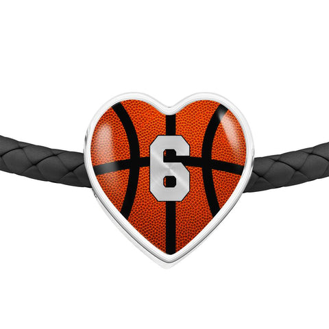 Basketball #6 (Original) Exclusive Heart Pendant Woven Leather Bracelet
