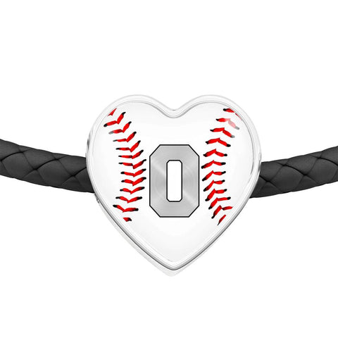 Baseball #0 (Original) Exclusive Heart Pendant Woven Leather Bracelet