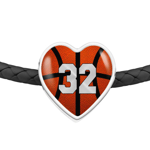 Basketball #32 (Original) Exclusive Heart Pendant Woven Leather Bracelet