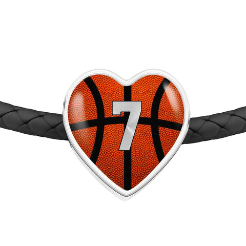 Basketball #7 (Original) Exclusive Heart Pendant Woven Leather Bracelet