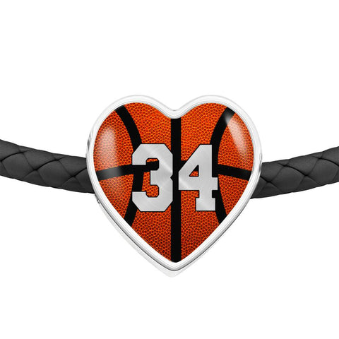 Basketball #34 (Original) Exclusive Heart Pendant Woven Leather Bracelet