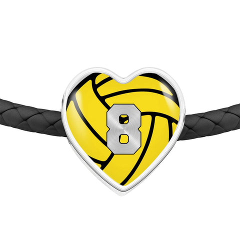 Water Polo #8 (Original) Exclusive Heart Pendant Woven Leather Bracelet