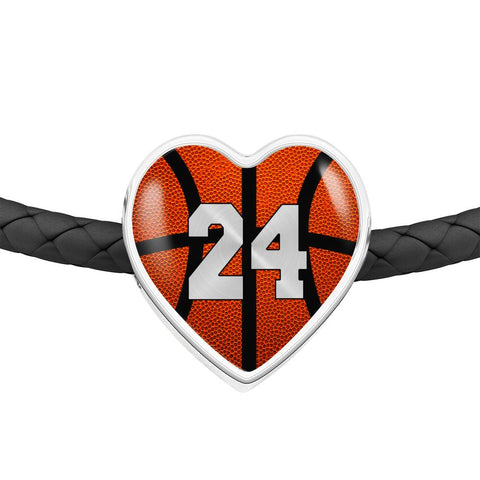 Basketball #24 (Original) Exclusive Heart Pendant Woven Leather Bracelet