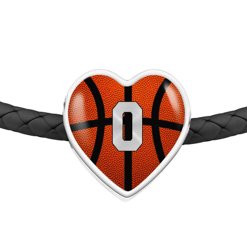 Basketball #0 (Original) Exclusive Heart Pendant Woven Leather Bracelet