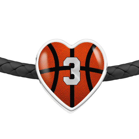 Basketball #3 (Original) Exclusive Heart Pendant Woven Leather Bracelet