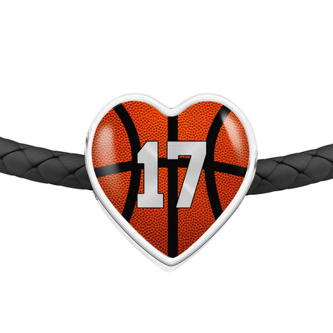 Basketball #17 (Original) Exclusive Heart Pendant Woven Leather Bracelet