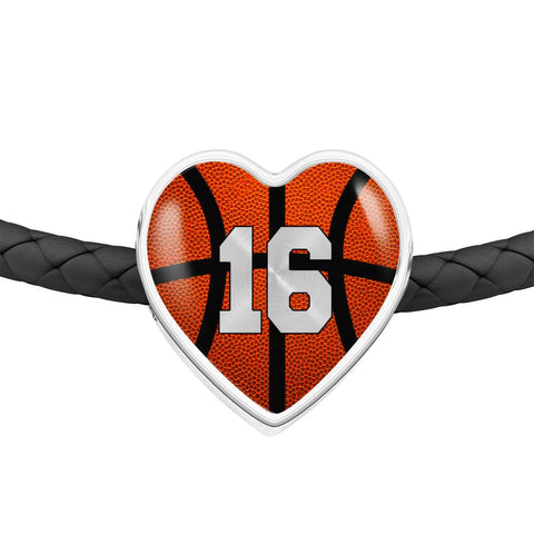 Basketball #16 (Original) Exclusive Heart Pendant Woven Leather Bracelet