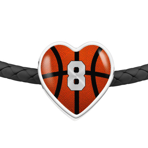 Basketball #8 (Original) Exclusive Heart Pendant Woven Leather Bracelet