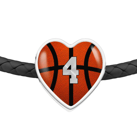 Basketball #4 (Original) Exclusive Heart Pendant Woven Leather Bracelet