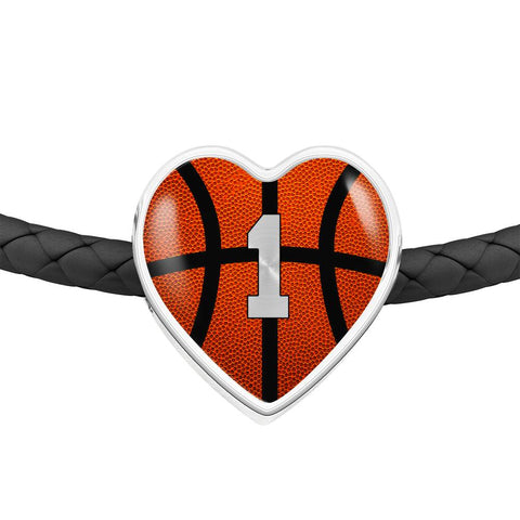 Basketball #1 (Original) Exclusive Heart Pendant Woven Leather Bracelet