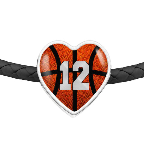 Basketball #12 (Original) Exclusive Heart Pendant Woven Leather Bracelet