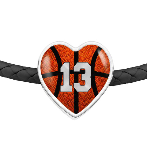 Basketball #13 (Original) Exclusive Heart Pendant Woven Leather Bracelet