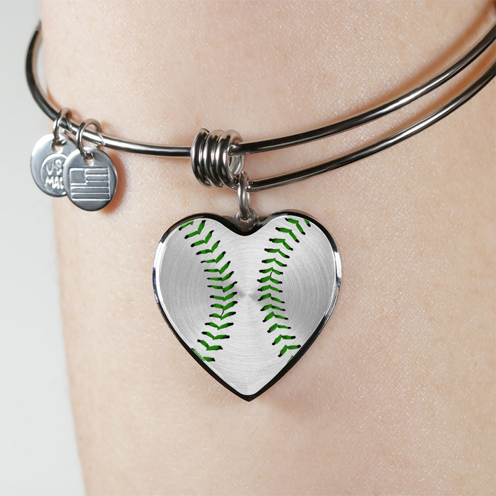 Baseball Green Heart Pendant (Limited Edition)