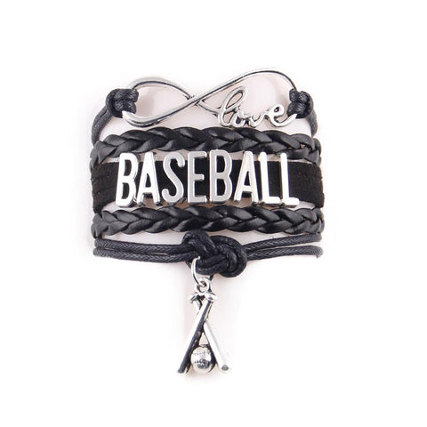 Leather Baseball, Softball, & Mom Charm Bracelets