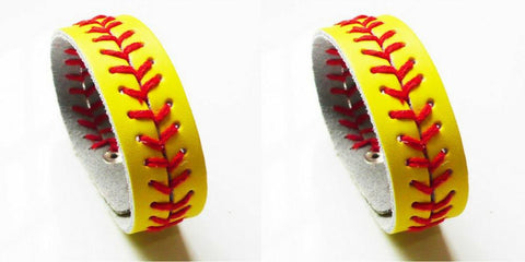 Bracelet - 30% OFF Retail + Shipping - Leather Baseball Softball & Football Bracelets: (2 Bracelets) - 30% OFF
