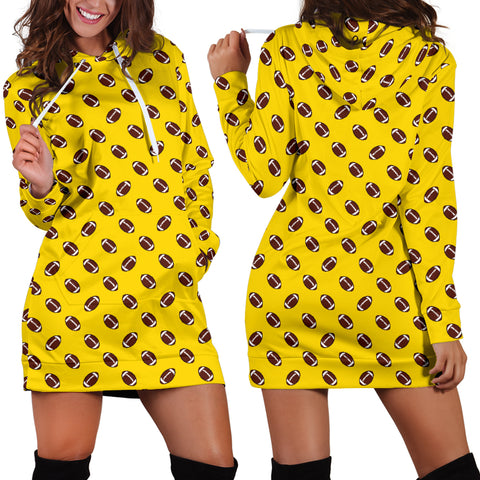 Football Pattern Gold Hoodie Dress