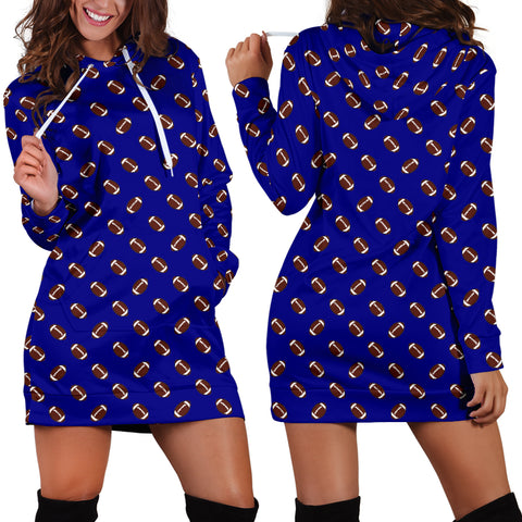 Football Pattern Navy Blue Hoodie Dress