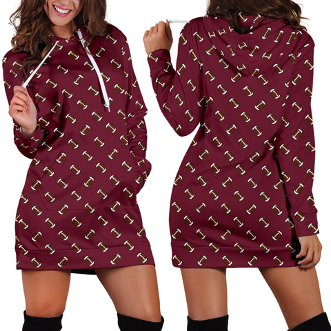 Football Pattern Maroon Hoodie Dress