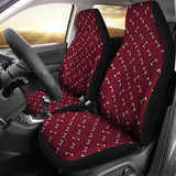 Football Pattern Maroon Premium Car Seat Covers (Set of 2)