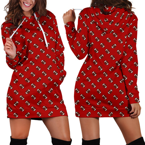 Football Pattern Red Hoodie Dress