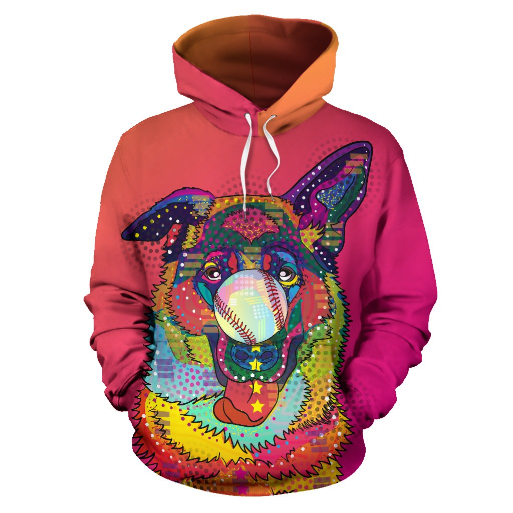 Colorful Baseball German Shepherd Premium Hoodie