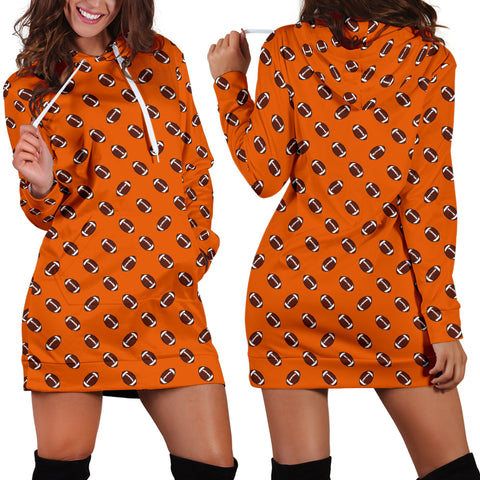 Football Pattern Orange Hoodie Dress