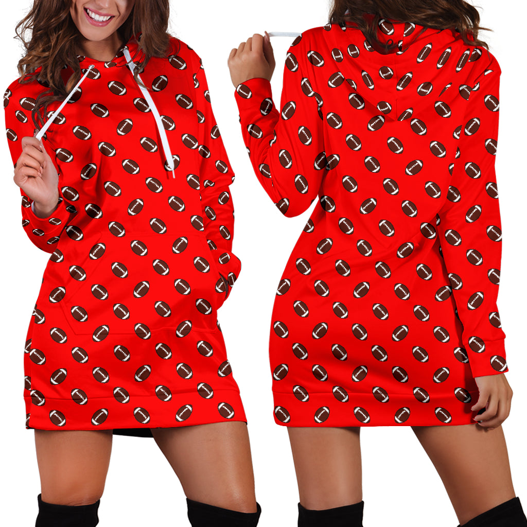 Football Pattern Light Red Hoodie Dress