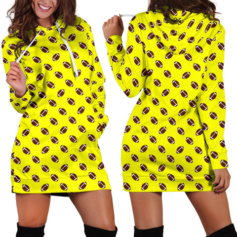 Football Pattern Yellow Hoodie Dress