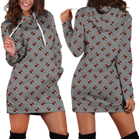 Football Pattern Gray Hoodie Dress