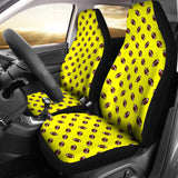 Football Pattern Yellow Premium Car Seat Covers (Set of 2)