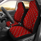 Football Pattern Crimson Red Premium Car Seat Covers (Set of 2)