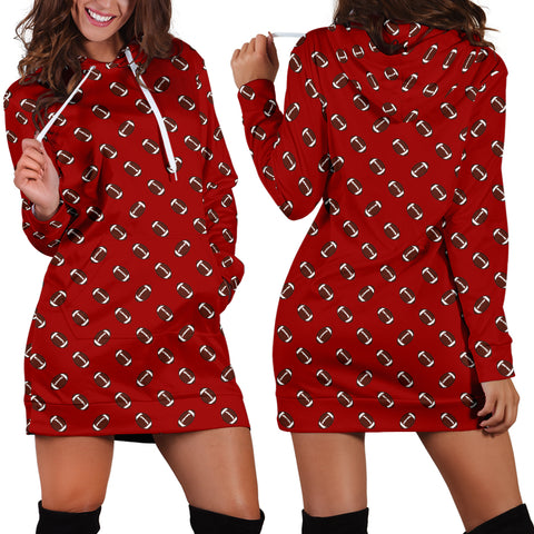 Football Pattern Crimson Red Hoodie Dress
