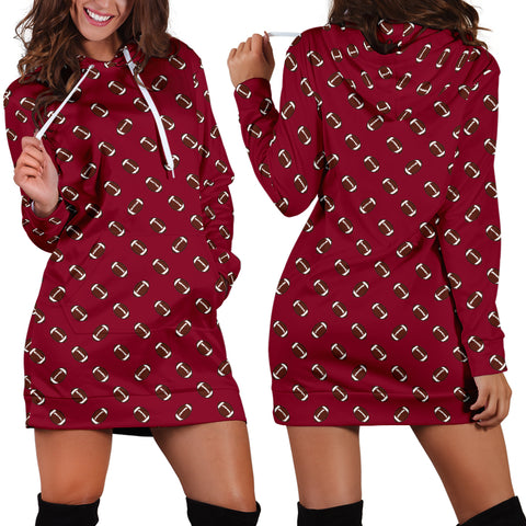 Football Pattern Burgundy Hoodie Dress