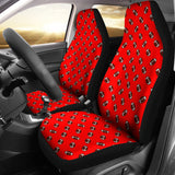Football Pattern Light Red Premium Car Seat Covers (Set of 2)