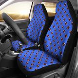 Football Pattern Royal Blue Premium Car Seat Covers (Set of 2)