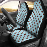 Football Pattern Light Blue Premium Car Seat Covers (Set of 2)